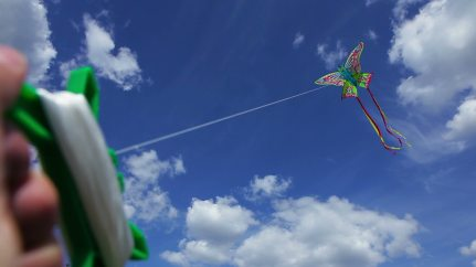 stock-footage-colorful-kite-in-the-shape-of-a-butterfly-against-the-blue-sky-with-white-clouds-hand-holding-a